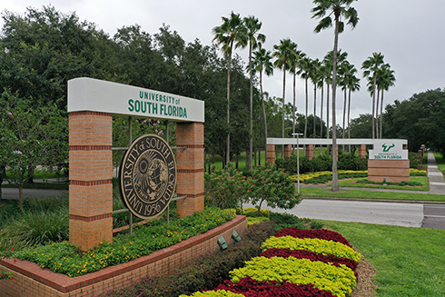 A photograph of the main entrance of the University of South Florida Tampa campus