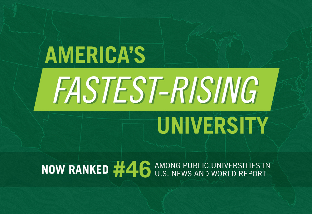 "A graphic with the text ""American's Fastest Rising University. Now ranked number 46 among public universities U.S. News and World Report"""