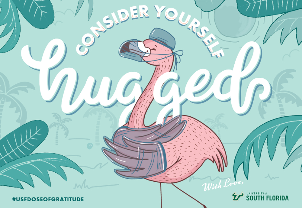 "A graphic with a flamingo that says ""Consider Yourself Hugged"" from the University of South Florida"