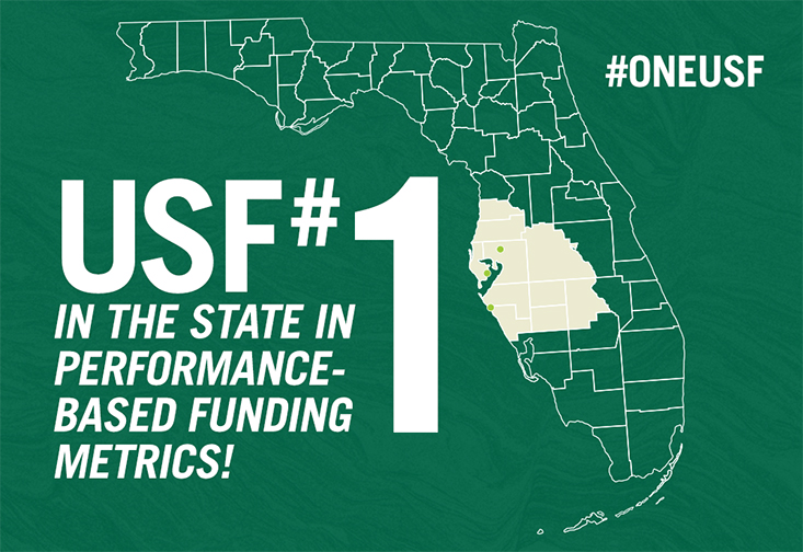 "A graphic showing the state of Florida and stating ""USF number one in state performance based metrics"""