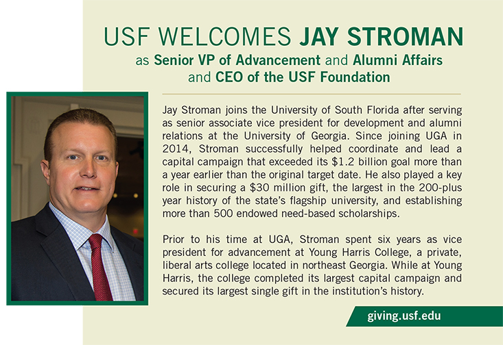 A graphic announcing the new USF Foundation CEO, Jay Stroman.