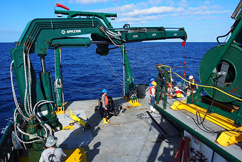 Ocean mapping activities being conducted on the west Florida continental shelf by the USF College of Marine Science staff aboard the research vessel Weatherbird II operated by the Florida Institute of Oceanography.