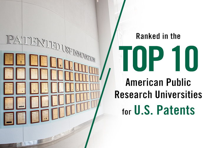 "A graphic with text stating ""ranked in the top 10 american public universities for U.S. patents"""