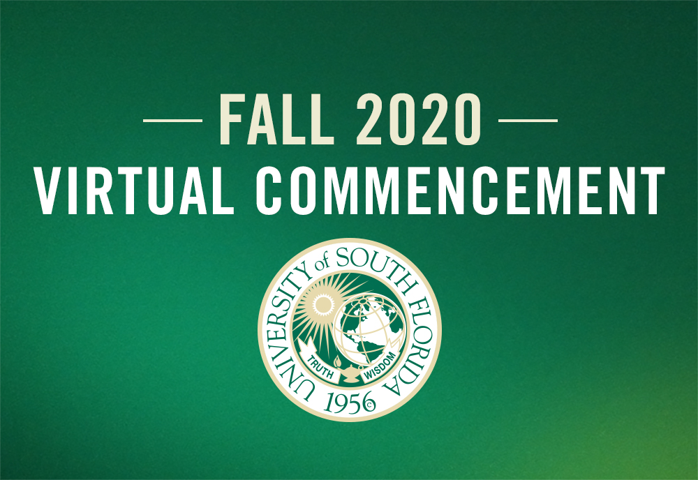 A graphic stating 'Fall 2020, Virtual Commencement'