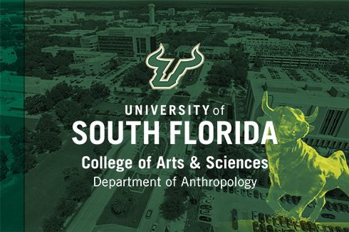 A graphic showing an aerial view of USF with the Department of Anthropology logo over top