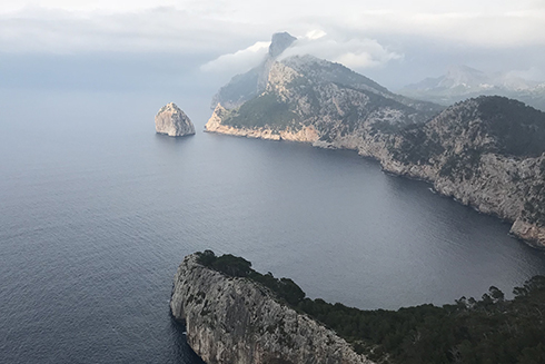An aerial image of the carbonate coastal morphology in Mallorca