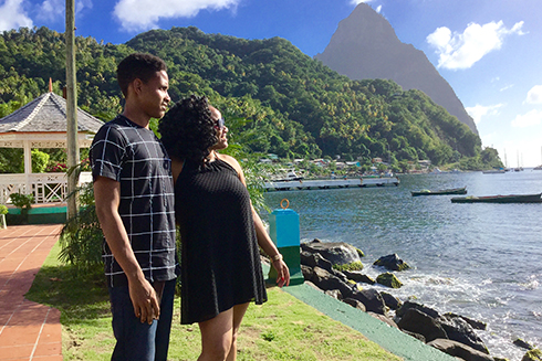 Patriann Smith is photographed with her younger brother, David Smith, during a family visit to Soufriere.