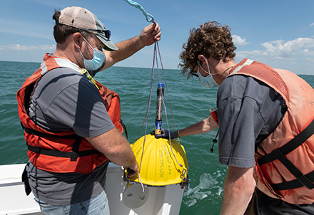 Marine scientists gather water samples