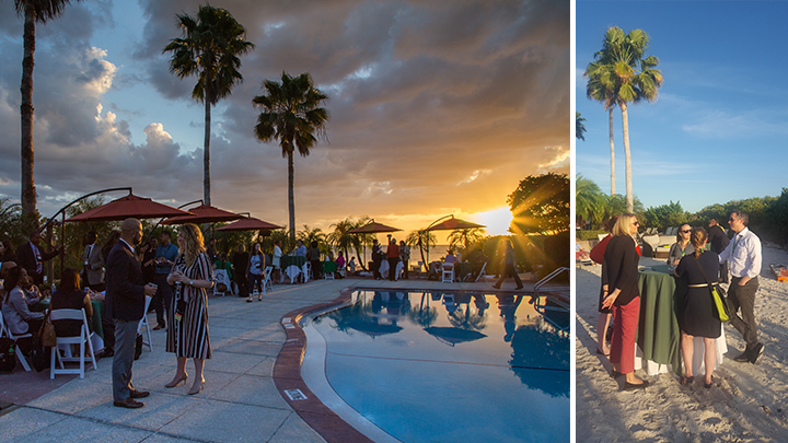 photo of poolside reception at sunset