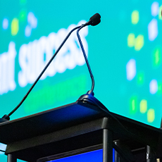 photo of conference podium mic