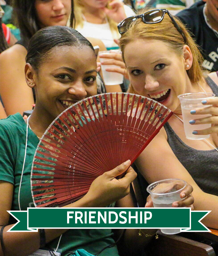 Female students with folding fan