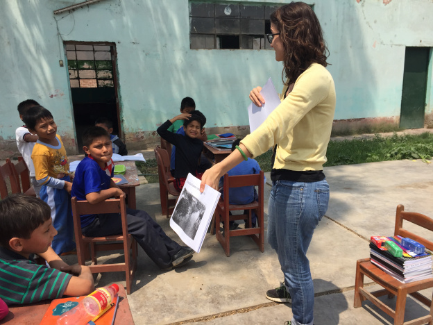 PCGS student Ericka M. on her capstone research internship teaching the value of food waste as a resource to school children in Peru.