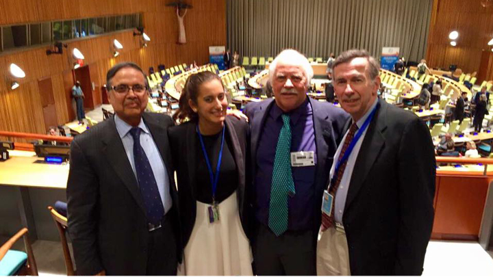 PCGS alumna Marcela B. ('15) interning with the United Nations World Tourism Organization. From left to right: Mr. Sarbuland Khan, Senior Counsellor of the NY United Nations Liaison Office, Marcela, PCGS professor Dr. Dave Randle, and Mr. Richard Jordan, DPI/NGO Conference Chairman with United Nations.