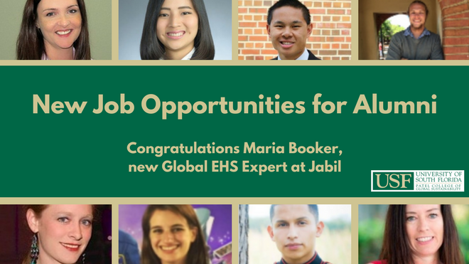 New Job Opportunities for Alumni. Congratulations Maria Booker, new Global EHS Expert at Jabil
