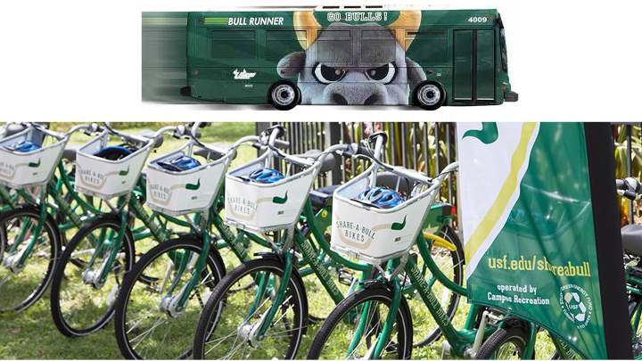 Sustainable Transportation at USF: The USF Bullrunner and Share-a-Bull bike program.