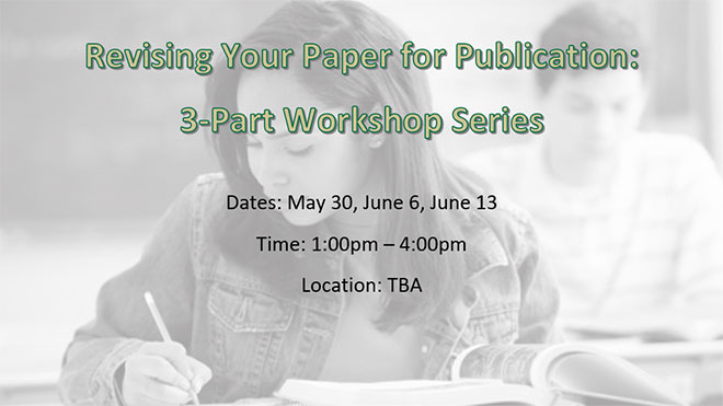 Prepare Your Paper For Publication Workshop