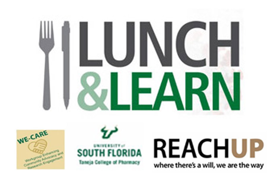 lunch n learn logo, we care logo, reachup logo, usf taneja college of pharmacy logo