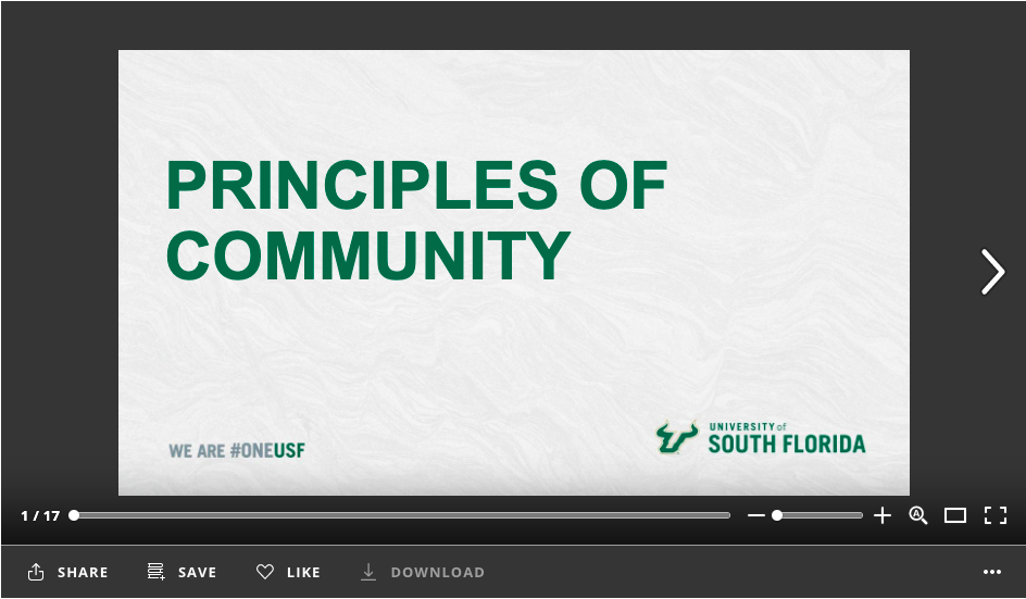 "Screenshot of first slide of PowerPoint, ""Principles of Community"""