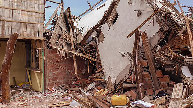 Homes in Ecuador destroyed by the 2016 earthquake