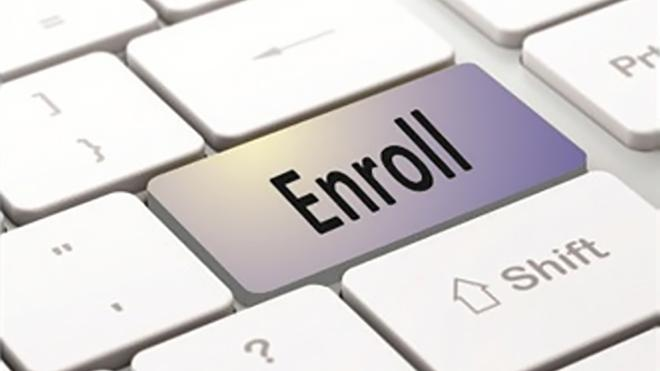 "Picture of a keyboard with a button that says ""Enroll"""