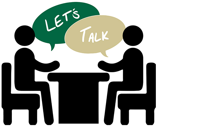 graphic of two stick figures sitting at table with talk bubbles