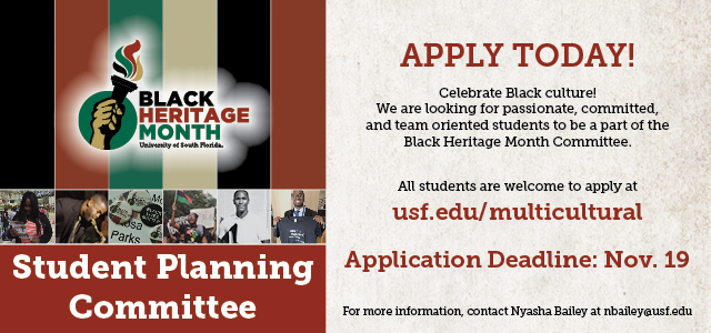 Click Here to Apply to be on the Black Heritage Month Student Planning Committee