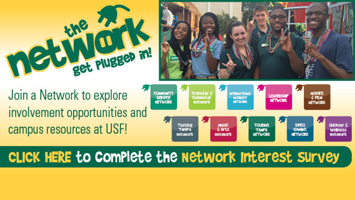 Colorful flyer with USF students