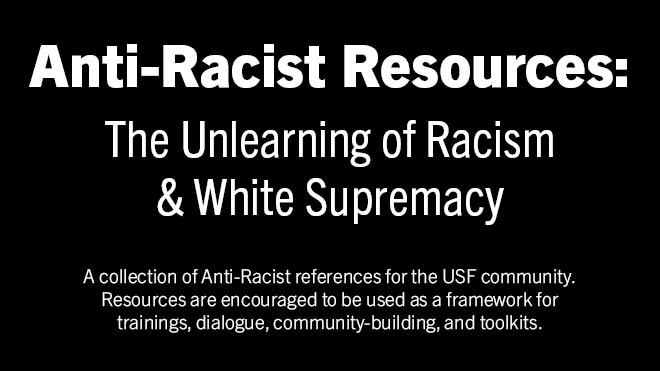 Graphic indicating a list of resources for anti-racism education