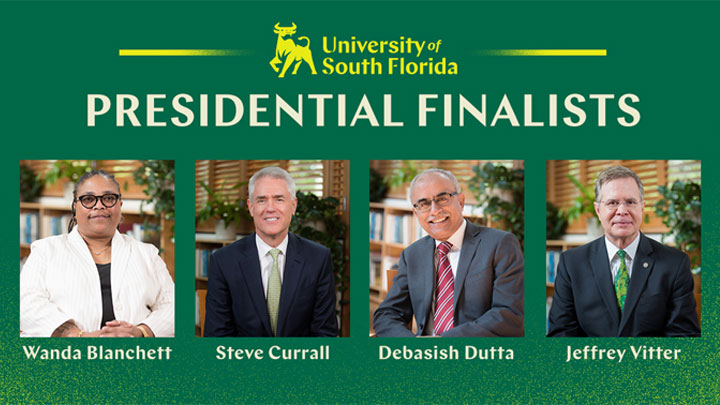 Headshots of final four candidates of presidential search