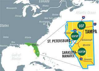 Map of the three system schools: Tampa, St. Petersburg, and Sarasota-Manatee