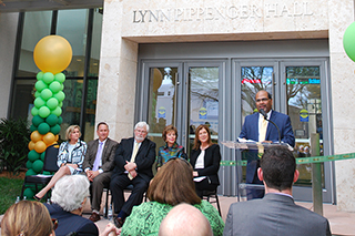 College of Business Dean speaks during ceremony