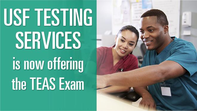 2 medical students pointing at USF Testing Services is now offering the TEAS Exam.