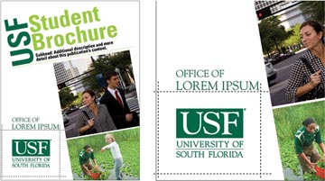 Example of clear zone around USF logo on a sample page