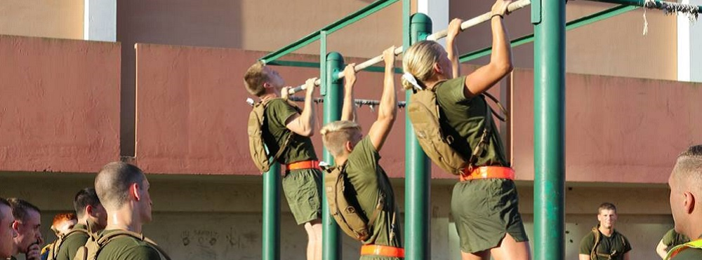 Marine Option Midshipmen Taking the Pull-Up Portion of Their Physical Fitness Test
