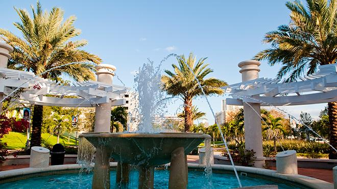 Picture of the fountain outside of the USF St. Petersburg campus