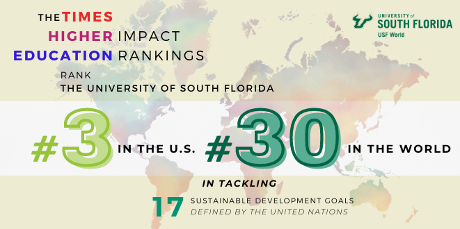 Times Higher Education ranks USF 3rd in the US and 30th in the World in its 2021 Impact Rankings