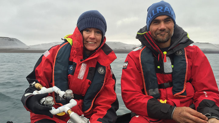 Environmental scientist Sherri Swanson and 5 Gyres co-founder Marcus Eriksen.