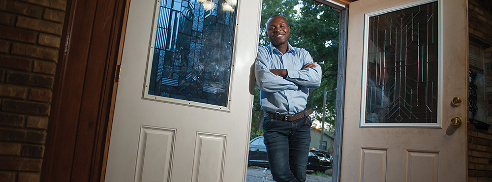 Sadiki Bertin, a Congolese refugee who arrived in Tampa about seven months ago.