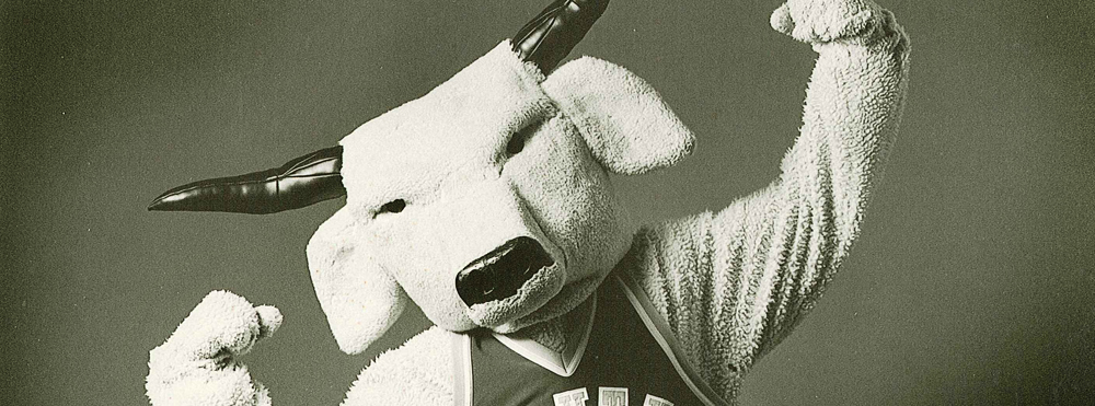 Black and White photo of old Rocky mascot