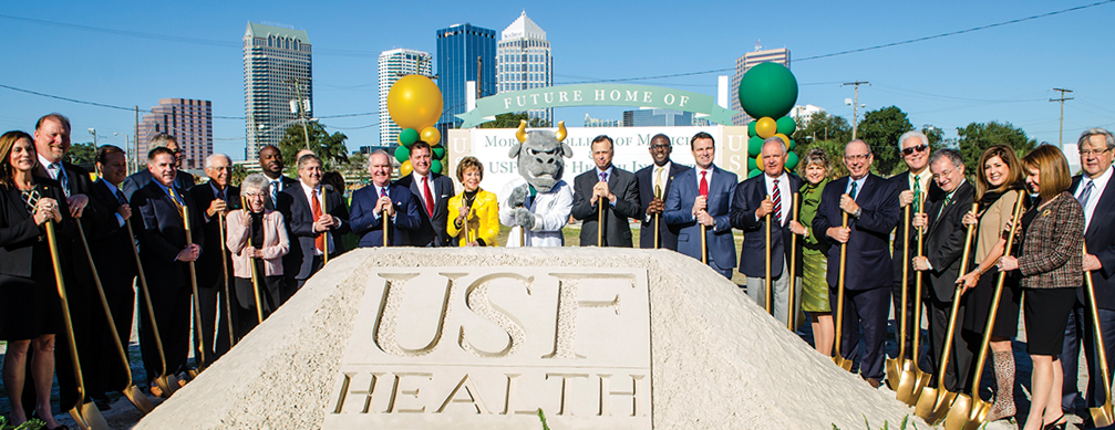 Judy Genshaft with state and local officials at the ground breaking of the new Morsani School of medicine