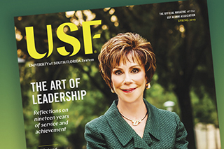 Cover art for Spring 2019 USF Magazine.