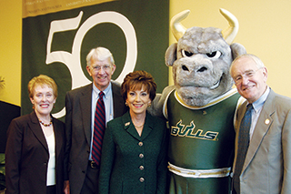 Judy Genshaft, Rocky, and 3 former USF presidents celebrate the university's 50th anniversary
