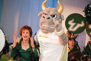 Judy Genshaft with Rocky announcing USF: UNSTOPPABLE fundraising campaign