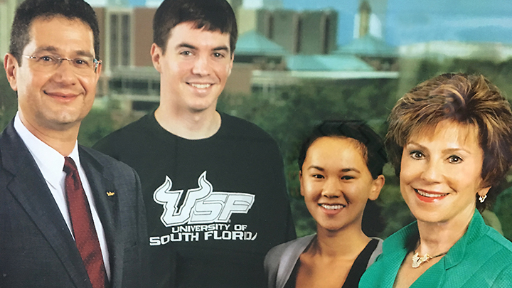 Judy Genshaft with her husband and the first 2 scholarship recipients, Christohper Smith and Thu Can