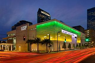 Exterior night shot of USF CAMLS. Center for Advanced Medical Learning and Simulation