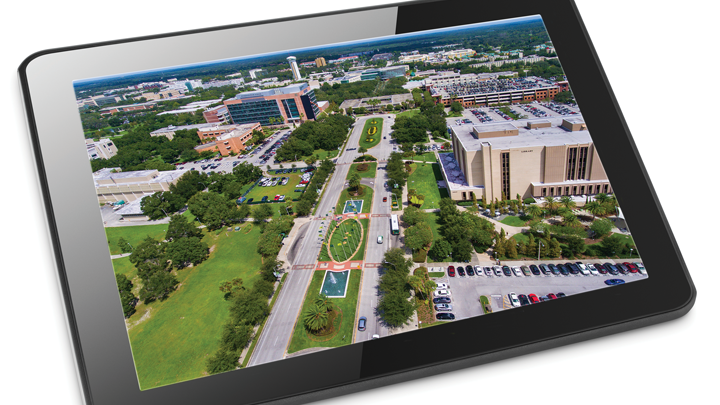 Aerial view of USF campus on a tablet