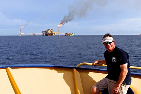 Dr. David Hollander aboard the R/V Justo Sierra sampling in 2015 near the site of the 1979 Ixtoc-1 oil well blowout in Campeche, Mexico