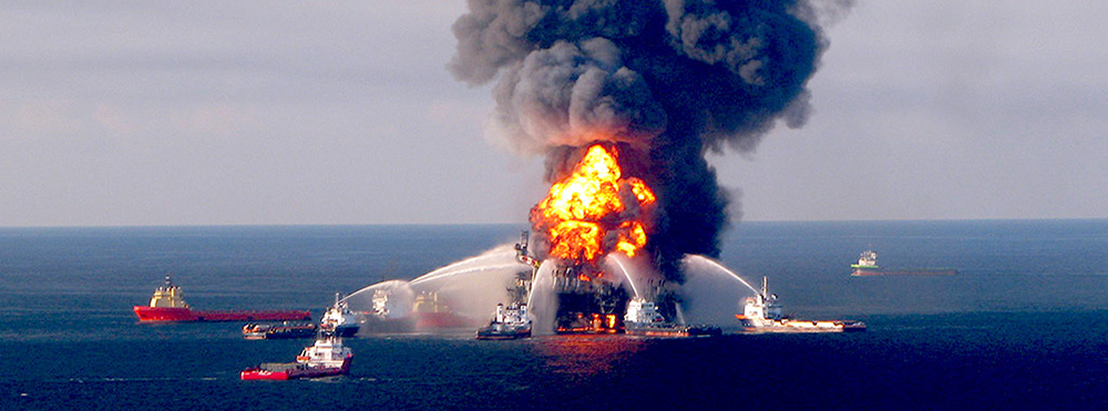 The Deepwater Horizon oil spill in 2010.