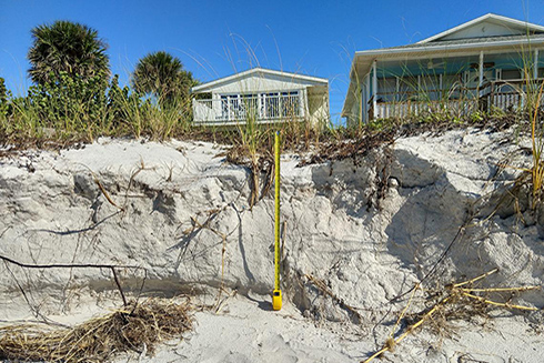 Erosion of dunes following Tropical Storm Eta. (Credit: Justin Birchler, USGS. Public domain.)