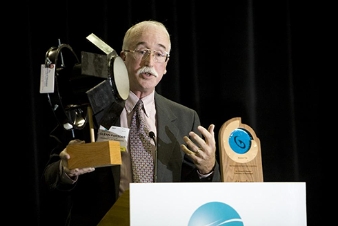 Dr. Glenn Parsons speaking at the awards ceremony for the 2007 World Wildlife Fund SmartGear Competition for which he received Runner-Up for his work on shrimp trawl bycatch reduction. Photo courtesy of Glenn Parsons.